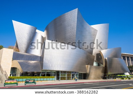 LOS ANGELES - FEBRUARY 29, 2016: The Walt Disney Concert Hall in LA. The building was designed by Frank Gehry and opened in 2003. - stock photo