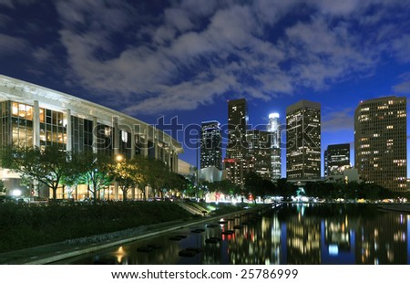 Los Angeles financial district at night - stock photo