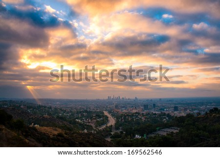 Los Angeles from the Hollywood Bowl Overlook at dusk, Los Angeles County, California, USA - stock photo