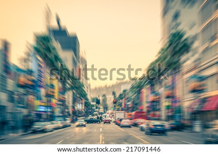 Los Angeles - Hollywood Boulevard before sunset - Walk of Fame on a defocused vintage filtered look - stock photo
