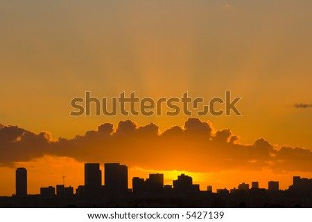 Los Angeles Hollywood Sunset Skyline - stock photo