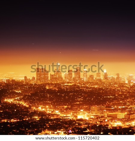 Los Angeles illuminated at night - stock photo