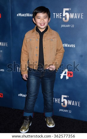 LOS ANGELES - JAN 14 - Albert Tsai arrives at The 5th Wave Special Screening on January 14,  2016 in Los Angeles, CA              - stock photo