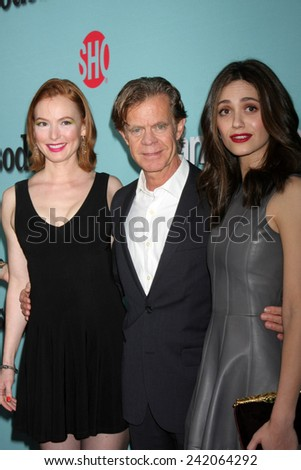 LOS ANGELES - JAN 5:  Alicia Witt, William H. Macy, Emmy Rossum at the Showtime Celebrates All-New Seasons Comedies at Cecconi's on January 5, 2014 in West Hollywood, CA - stock photo