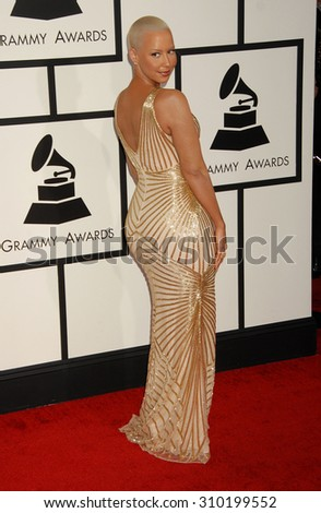 LOS ANGELES - JAN 26:  Amber Rose arrives at the 56th Annual Grammy Awards Arrivals  on January 26, 2014 in Los Angeles, CA                 - stock photo