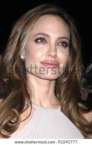 LOS ANGELES - JAN 7:  Angelina Jolie arrives at the 2012 Palm Springs International Film Festival Gala at Palm Springs Convention Center on January 7, 2012 in Palm Springs, CA - stock photo
