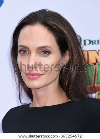 LOS ANGELES - JAN 16 - Angelina Jolie-Pitt arrives at the Kung Fu Panda 3 World Premiere on January 16,  2016 in Hollywood, CA              - stock photo