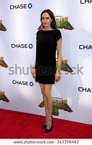 LOS ANGELES - JAN 16:  Angelina Jolie-Pitt at the Kung Fu Panda 3 Premiere at the TCL Chinese Theater on January 16, 2016 in Los Angeles, CA - stock photo