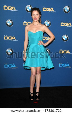 LOS ANGELES - JAN 25:  Anna Kendrick at the 66th Annual Directors Guild of America Awards - Press Room at Century Plaza Hotel on January 25, 2014 in Century City, CA - stock photo