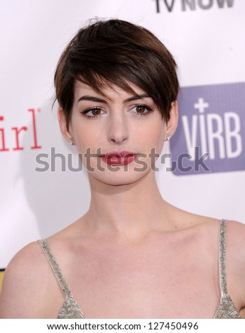 "LOS ANGELES - JAN 10:  Anne Hathaway arrives to the ""Critic's Choice Awards 2013  on January 10, 2013 in Santa Monica, CA - stock photo"