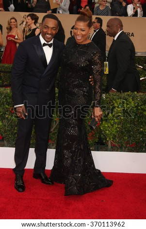 LOS ANGELES - JAN 30:  Anthony Mackie, Queen Latifah at the 22nd Screen Actors Guild Awards at the Shrine Auditorium on January 30, 2016 in Los Angeles, CA - stock photo