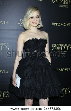 LOS ANGELES - JAN 21:  Bella Heathcote at the Pride And Prejudice And Zombies Premiere at the Harmony Gold Theatre on January 21, 2016 in Los Angeles, CA - stock photo