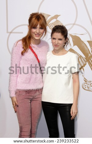 LOS ANGELES - JAN 9:  Bella Thorne, Anna Kendrick at the LoveGold Event at the Selma House on January 9, 2014 in Los Angeles, CA - stock photo