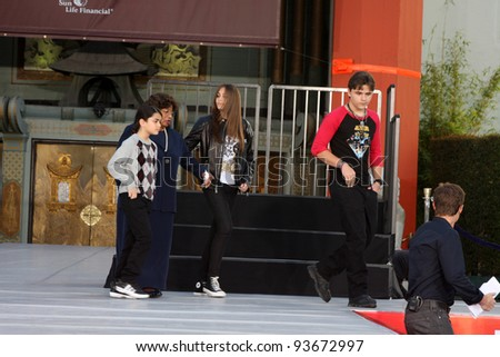 LOS ANGELES - JAN 26: Blanket, Katherine, Paris, Prince Jackson at the Michael Jackson Immortalized  Handprint and Footprint Ceremony at Graumans Chinese Theater on January 26, 2012 in Los Angeles, CA - stock photo