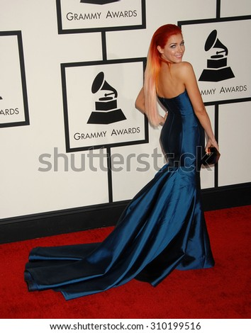 LOS ANGELES - JAN 26:  Bonnie McKee arrives at the 56th Annual Grammy Awards Arrivals  on January 26, 2014 in Los Angeles, CA                 - stock photo