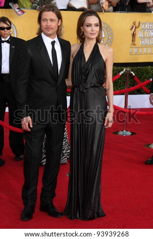 LOS ANGELES - JAN 29:  Brad Pitt and Angelina Jolie arrives at the 18th Annual Screen Actors Guild Awards at Shrine Auditorium on January 29, 2012 in Los Angeles, CA - stock photo