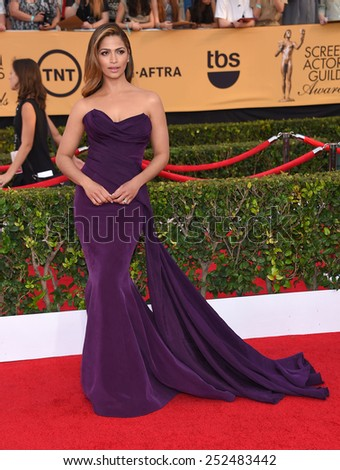 LOS ANGELES - JAN 25:  Camila Alves arrives to the 21st Annual Screen Actors Guild Awards  on January 25, 2015 in Los Angeles, CA                 - stock photo