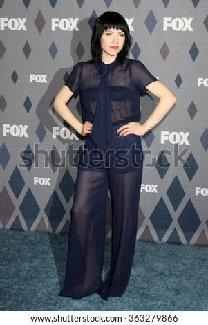 LOS ANGELES - JAN 15:  Carly Rae Jepsen at the FOX Winter TCA 2016 All-Star Party at the Langham Huntington Hotel on January 15, 2016 in Pasadena, CA - stock photo