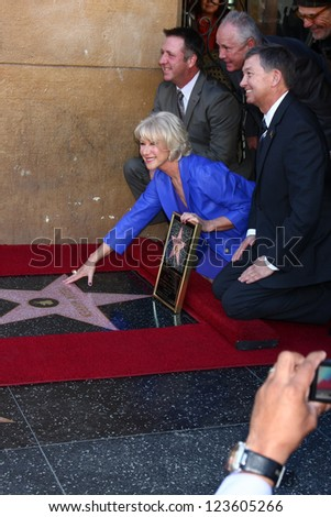 LOS ANGELES - JAN 3:  Chamber officials, Helen Mirren, Jon Turteltaub, David Mamet at the Hollywood Walk of Fame Star Ceremony for Helen Mirren at Pig 'n Whistle on January 3, 2013 in Los Angeles, CA - stock photo