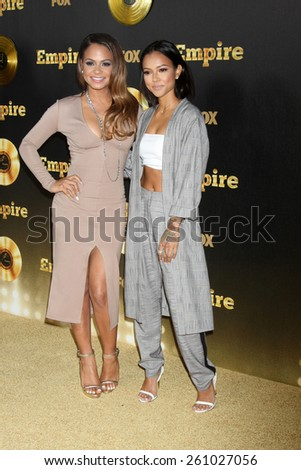 "LOS ANGELES - JAN 6:  Christina Milian, Karrueche Tran at the FOX TV ""Empire"" Premiere Event at a ArcLight Cinerama Dome Theater on January 6, 2014 in Los Angeles, CA - stock photo"