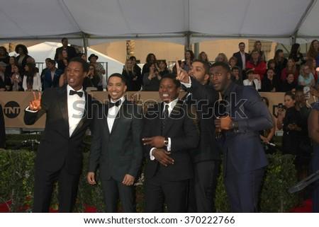 LOS ANGELES - JAN 30:  Corey Hawkins, Neil Brown Jr., Jason Mitchell, O�¢??Shea Jackson Jr., Aldis Hodge at the 22nd SAG Awards at the Shrine Auditorium on January 30, 2016 in Los Angeles, CA - stock photo