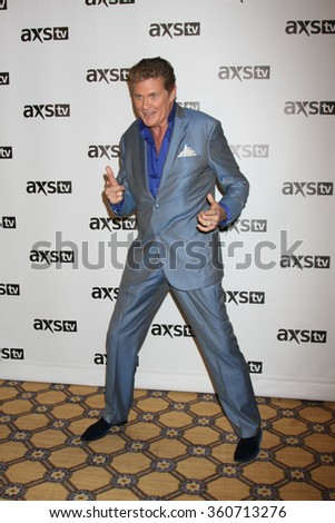 LOS ANGELES - JAN 8:  David Hasselhoff at the AXS TV Winter 2016 TCA Cocktail Party at the The Langham Huntington Hotel on January 8, 2016 in Pasadena, CA - stock photo