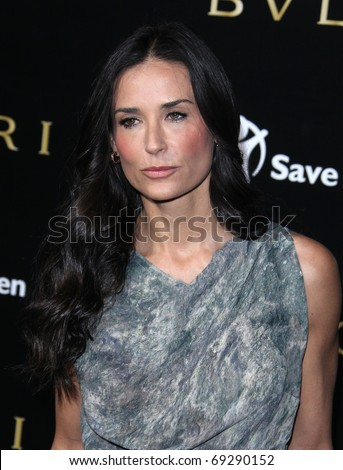 LOS ANGELES - JAN 13  Demi Moore arrives to the Bvlgari Hosts Funraiser for Save The Children  on January 13, 2011 in Los Angeles, CA - stock photo