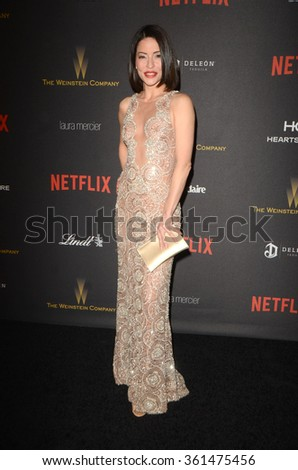 LOS ANGELES - JAN 10:  Emmanuelle Vaugier at the Weinstein Company & Netflix 2016 Golden Globe After Party at the Beverly Hilton on January 10, 2016 in Beverly Hills, CA - stock photo