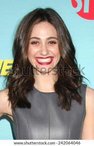 """LOS ANGELES - JAN 5:  Emmy Rossum at the Showtime Celebrates All-New Seasons Of """"Shameless,"""" """"House Of Lies"""" And """"Episodes at a Cecconi's on January 5, 2014 in West Hollywood, CA - stock photo"""
