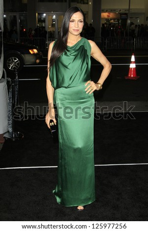 LOS ANGELES - JAN 24:  Famke Janssen arrives at the the 'Hansel And Gretel: Witch Hunters' premiere at the Chinese Theat theer on January 24, 2013 in Los Angeles, CA - stock photo