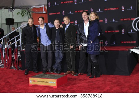 LOS ANGELES - JAN 5: Forster, Tatum, Tim Roth, Waltz, Quentin Tarantino, Bell at the Quentin Tarantino Hand & Footprints Ceremony at the TCL Chinese Theater IMAX on January 5, 2016 in Los Angeles, CA - stock photo