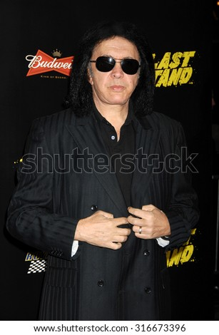 LOS ANGELES - JAN 14 - Gene Simmons arrives at The Last Stand World Premiere on January 14, 2013 in Hollywood, CA              - stock photo