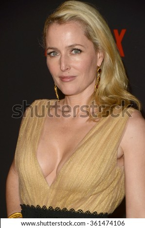 LOS ANGELES - JAN 10:  Gillian Anderson at the Weinstein Company & Netflix 2016 Golden Globe After Party at the Beverly Hilton on January 10, 2016 in Beverly Hills, CA - stock photo