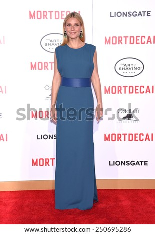 "LOS ANGELES - JAN 21:  Gwyneth Paltrow arrives to the ""Mortdecai"" Los Angeles Premiere  on January 21, 2015 in Hollywood, CA                 - stock photo"