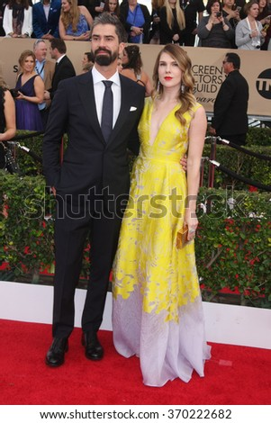 LOS ANGELES - JAN 30:  Hamish Linklater, Lily Rabe at the 22nd Screen Actors Guild Awards at the Shrine Auditorium on January 30, 2016 in Los Angeles, CA - stock photo