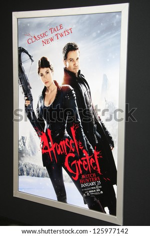 LOS ANGELES - JAN 24:  Hansel And Gretel: Witch Hunters Poster  at the 'Hansel And Gretel: Witch Hunters' premiere at the Chinese Theater on January 24, 2013 in Los Angeles, CA - stock photo