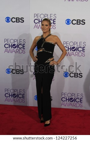 LOS ANGELES - JAN 9: Heidi Klum at the 39th Annual People's Choice Awards at Nokia Theater L.A. Live on January 9, 2013 in Los Angeles, California - stock photo