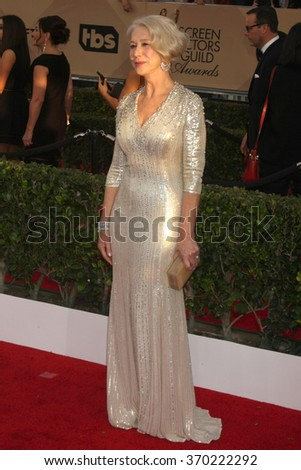 LOS ANGELES - JAN 30:  Helen Mirren at the 22nd Screen Actors Guild Awards at the Shrine Auditorium on January 30, 2016 in Los Angeles, CA - stock photo