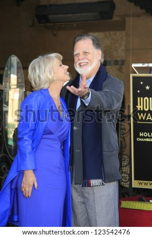 LOS ANGELES - JAN 3: Helen Mirren, Taylor Hackford at a ceremony as Helen Mirren is honored with star on the Hollywood Walk of Fame on January 3, 2013 in Los Angeles, California - stock photo