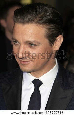 LOS ANGELES - JAN 24:  Jeremy Renner arrives at the the 'Hansel And Gretel: Witch Hunters' premiere at the Chinese Theat theer on January 24, 2013 in Los Angeles, CA - stock photo