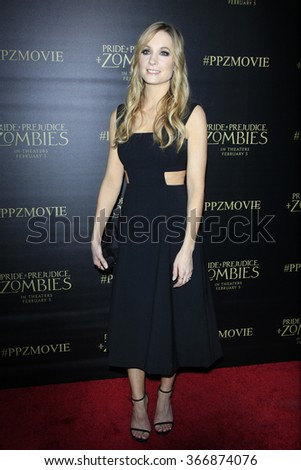LOS ANGELES - JAN 21:  Joanne Froggatt at the Pride And Prejudice And Zombies Premiere at the Harmony Gold Theatre on January 21, 2016 in Los Angeles, CA - stock photo