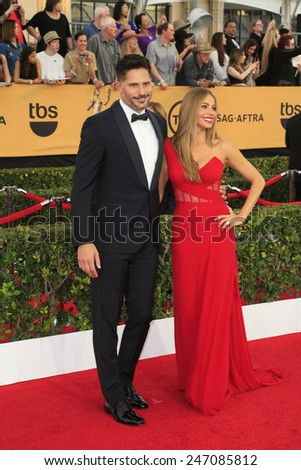 LOS ANGELES - JAN 25:  Joe Manganiello, Sofia Vergara at the 2015 Screen Actor Guild Awards at the Shrine Auditorium on January 25, 2015 in Los Angeles, CA - stock photo