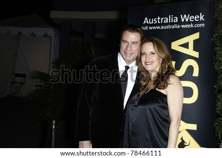 LOS ANGELES - JAN 22: John Travolta and Kelly Preston at the 2011 G'Day USA Australia Week LA Black Tie Gala at the Hollywood Palladium in Los Angeles, California on  January 22, 2011. - stock photo