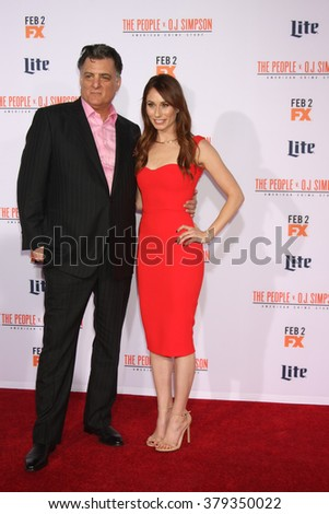 LOS ANGELES - JAN 27:  Joseph Siravo, Jessica Blair Herman at the American Crime Story - The People V. O.J. Simpson Premiere at the Village Theater on January 27, 2016 in Westwood, CA - stock photo