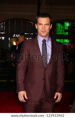 LOS ANGELES - JAN 7:  Josh Brolin arrives at the 'Gangster Squad' Premiere at Graumans Chinese Theater on January 7, 2013 in Los Angeles, CA - stock photo