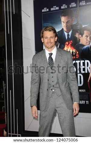 LOS ANGELES - JAN 7: Josh Pence at Warner Bros. Pictures' 'Gangster Squad' premiere at Grauman's Chinese Theater on January 7, 2013 in Los Angeles, California - stock photo