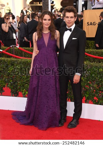 LOS ANGELES - JAN 25:  Keira Knightley & James Righton arrives to the 21st Annual Screen Actors Guild Awards  on January 25, 2015 in Los Angeles, CA                 - stock photo