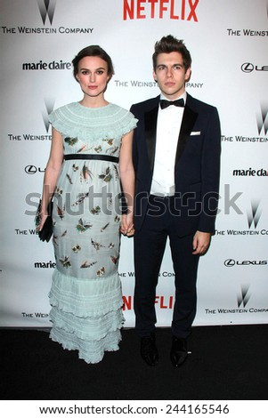 LOS ANGELES - JAN 11:  Keira Knightley, James Righton at the The Weinstein Company / Netflix Golden Globes After Party at a Beverly Hilton Adjacent on January 11, 2015 in Beverly Hills, CA - stock photo