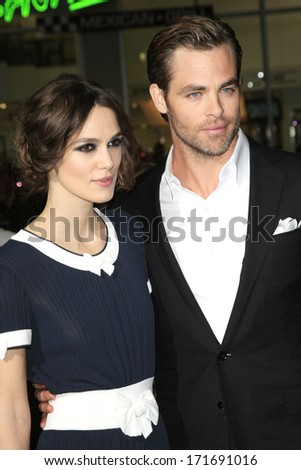 LOS ANGELES - JAN 15: Kiera Knightly, Chris Pine at the premiere of Paramount Pictures' 'Jack Ryan: Shadow Recruit' at TCL Chinese Theater on January 15, 2014 in Los Angeles, CA - stock photo