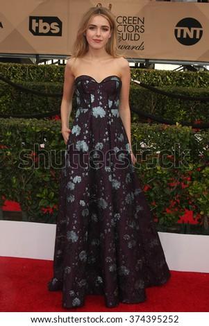 LOS ANGELES - JAN 30:  Kiernan Shipka at the 22nd Screen Actors Guild Awards at the Shrine Auditorium on January 30, 2016 in Los Angeles, CA - stock photo